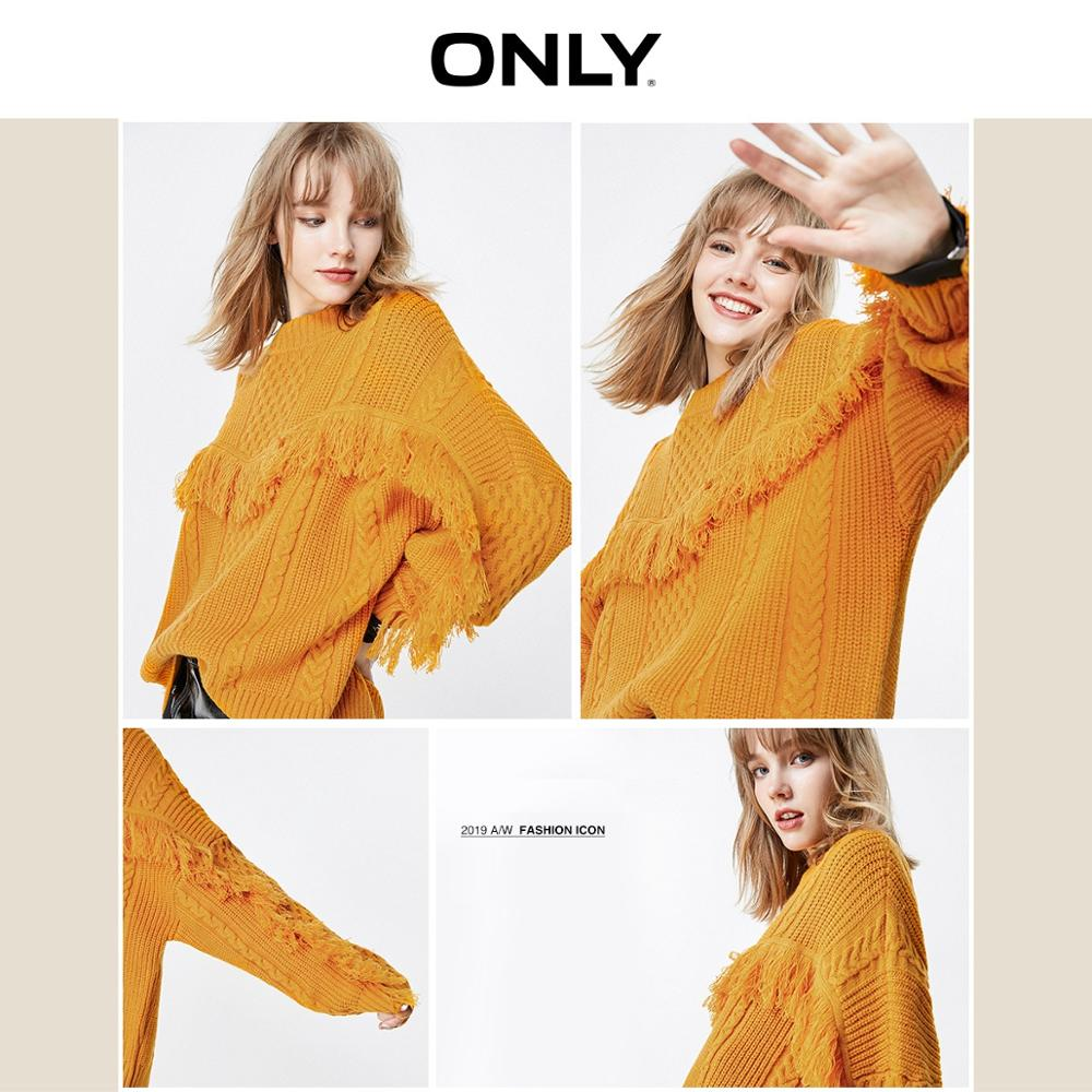 ONLY  Autumn Winter Women's Loose Fit Fringed Knitted Sweater | 119313537