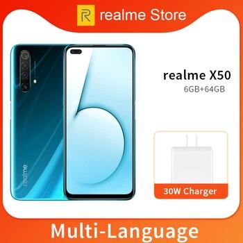 Перейти на Алиэкспресс и купить Realme X50 X 50 5G 8GB 128GB 6,57 ''мобильный телефон Snapdragon 765G Восьмиядерный 64MP четырехъядерный мобильный телефон VOOC 30W быстрое зарядное устройство