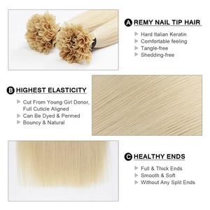 "Image 2 - Fusion Keratin Bond Human Hair Extensions Capsule U Nail Tip Real Remy Pre Bonded Hair Platinum Blonde 16"" 18"" 20"" 0.8g/strand"