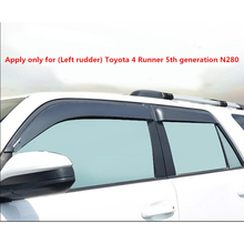 Side Window Deflector ForToyota 4runner 10 19 Fifth Ggeneration N280 Acrylic Black Window Shield Sun Rain Deflector Guards SUNZ