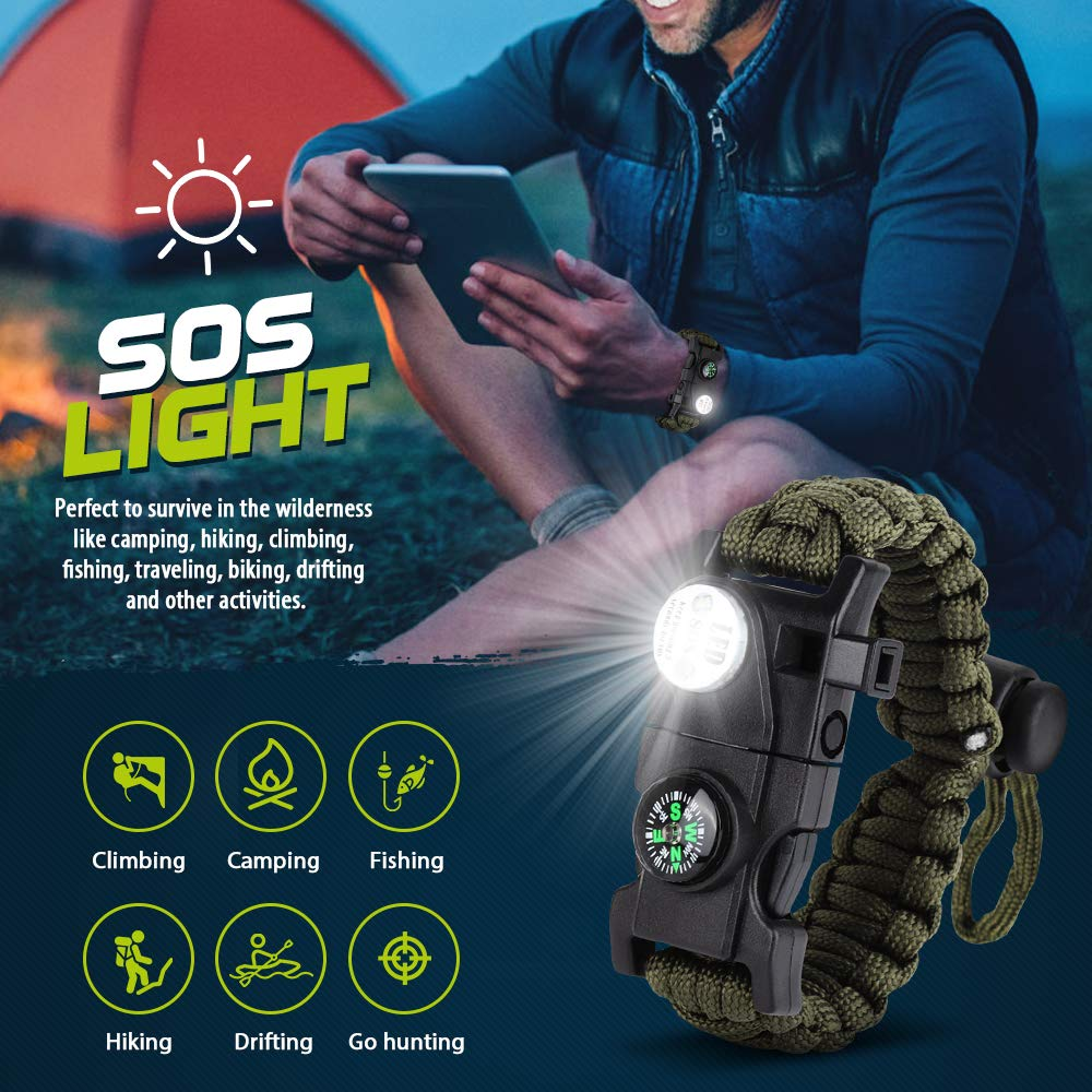 Multifunctional outdoor Survive Paracord Survival Bracelet Camping Equipement Multi tool Rescue Rope Bracelet For Men(China)