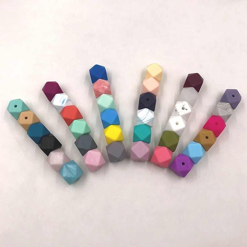 1 Uds. Cuentas hexagonales de silicona de 14mm mordedor para dentición cuidado del bebé DIY collar chupete cadena cuentas BPA accesorios gratis