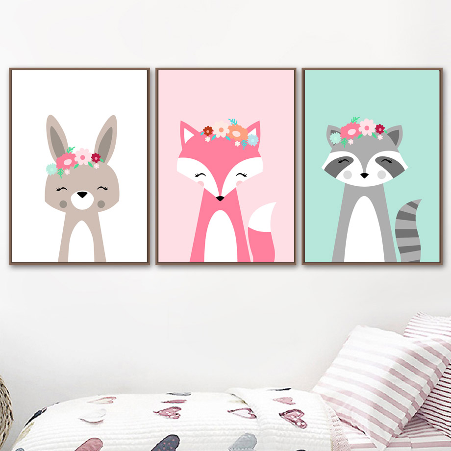 Raccoon Rabbit Fox Head Flower Animal Wall Art Canvas Painting Nordic Posters And Prints Wall Pictures Kids Room Decor in Painting Calligraphy from Home Garden
