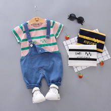 Pants Girls Short-Sleeve Baby-Boy Boys Stripes Cotton Fashion 1-4-Years-Old And