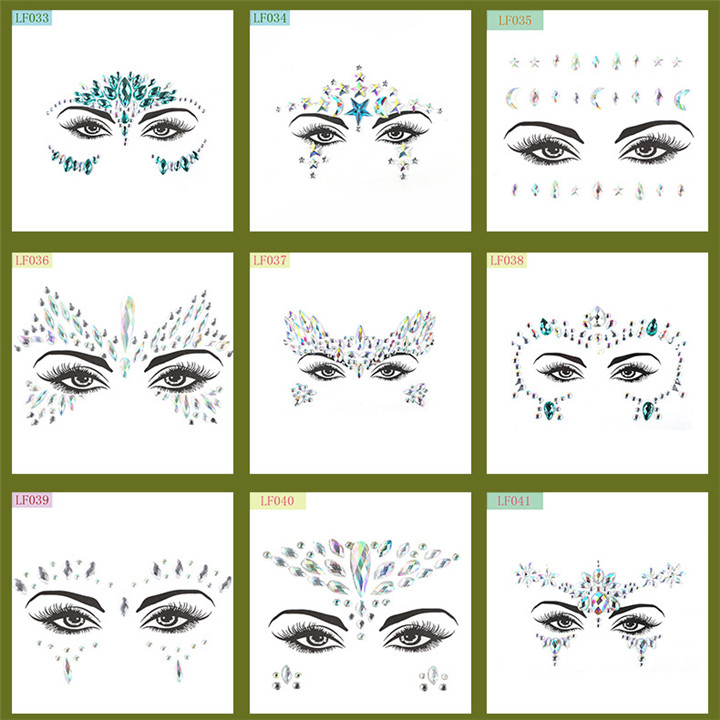 5  Acrylic Rhinestone Face Stickers Women Halloween Christmas Birthday Party Decor Environmentally Colorful Crystal Face Stickers