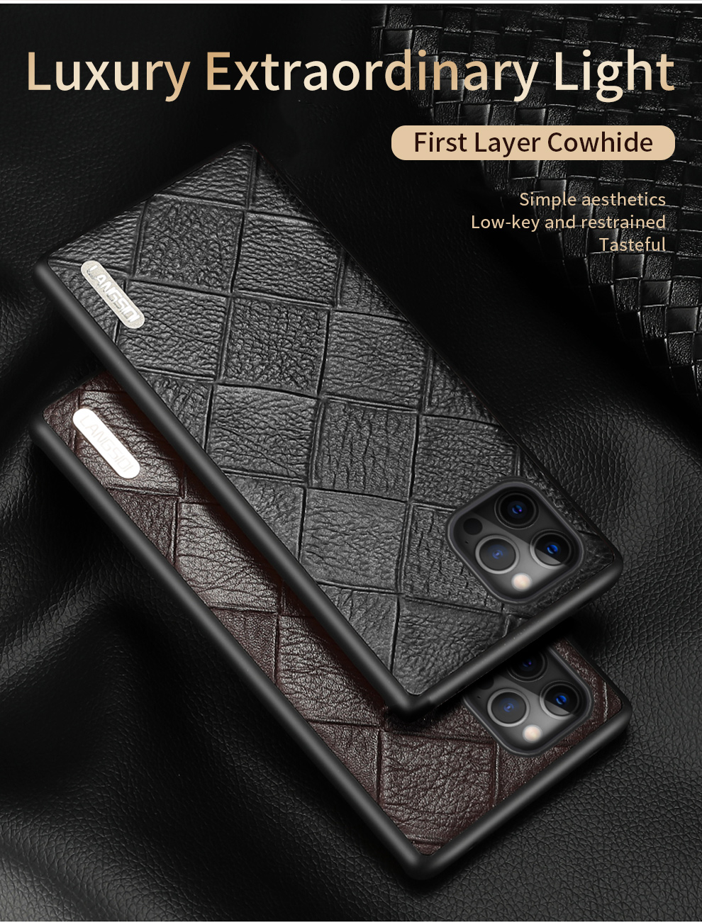 Genuine Leather Rhombus Grain Phone Cases For iPhone 12 Pro Max 1