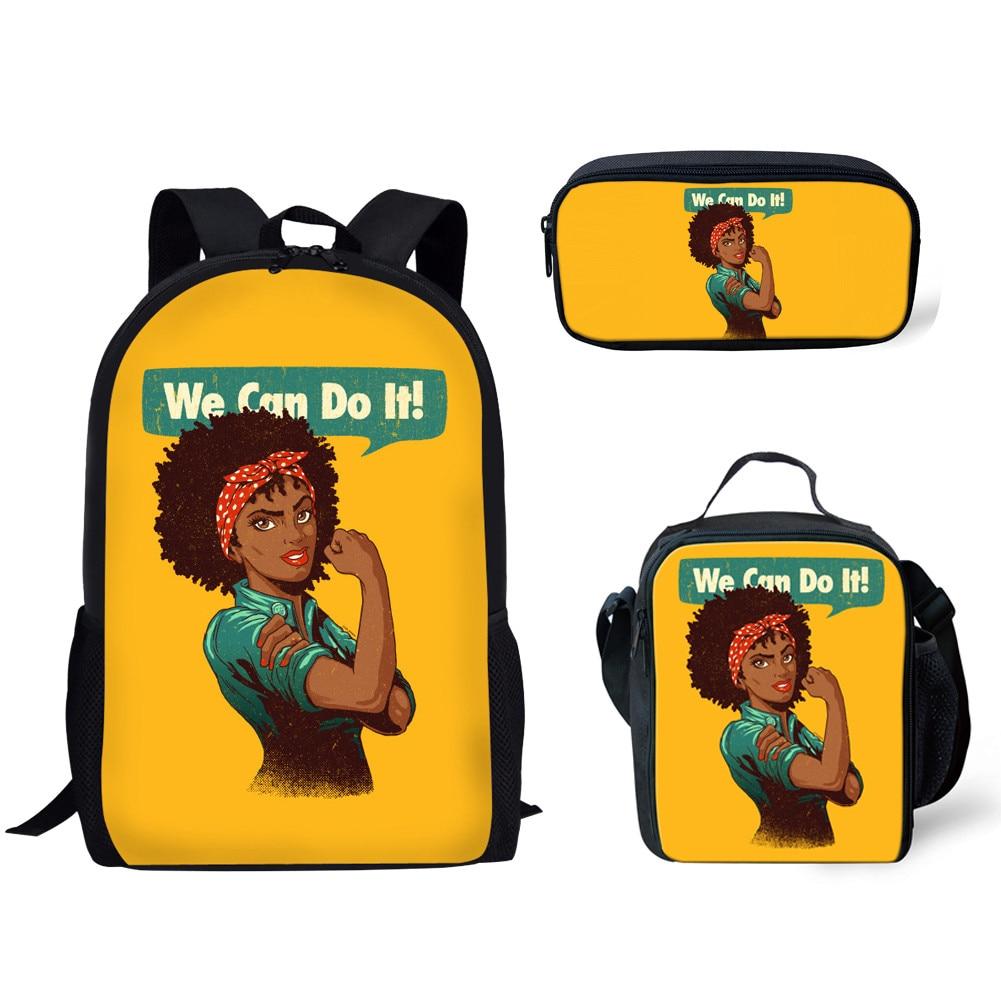 NOISYDESIGNS 3pcs School Bags Set For Children Black Queen African Girls Printing School Backpack Kids Primary Book Bag Softback