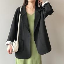 Black Casual Blazer Women Pockets Jacket Korean Ladies Suits Spring Autumn Outwear Long Sleeve Coats Womens Blazers And Jackets