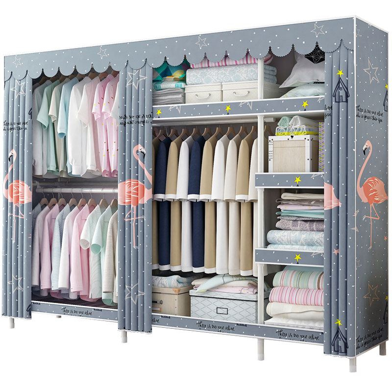Solid Wood Coarsening And Reinforcement Wardrobe Simple Cloth Wardrobe Double Assembly Cloth Art Simple Modern Economical Dormit