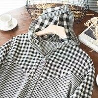Estate nuova camicia a quadri Casual allentata con cappuccio manica lunga Casual top abbigliamento quotidiano