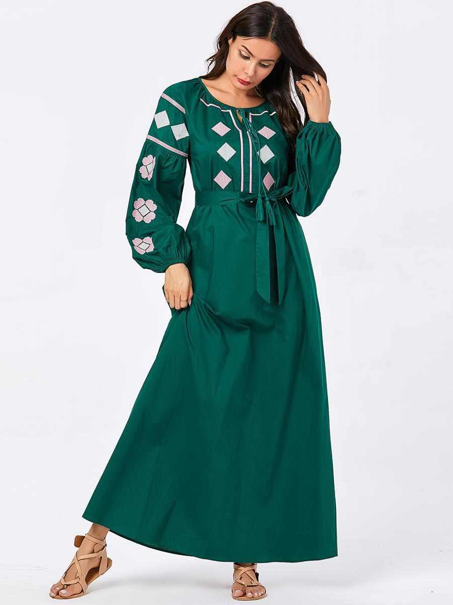 여성을위한 녹색 abayas 긴 붕대 이슬람 드레스 두바이 터키 터키 caftan 플러스 크기 kaftan 이슬람 의류 방글라데시 가운
