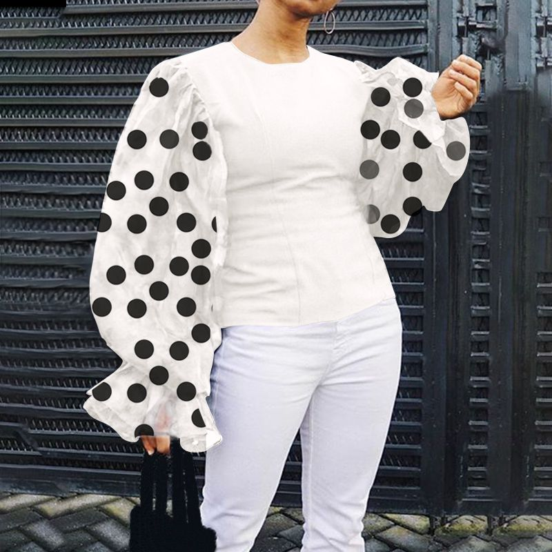 Celmia Top Fashion Women's Sexy Polka Dot Sheer Mesh Blouses Ladies Long Lantern Sleeve Elegant OL Tops Casual Shirt Plus Size 7