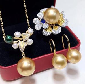 Image 3 - D304 Pearl Sets 925 Sterling Silver 9 12mm Natural Fresh Water Golden Pearls Females Jewelry Sets for Women FIne Jewelry Sets