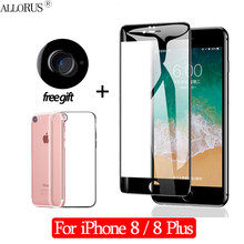New 2.5D 3-in-1 Case + Camera Tempered Glass For iPhone 8 Screen Protector For iPhone 8 Plus Full cover Glass For iPhone 8(China)