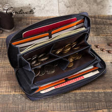 CONTACT'S Rfid Men Wallet Genuine Leather Clutch Wallets Male Coin Purse Large Capacity Long Money Bag Phone Pocket Card Holder