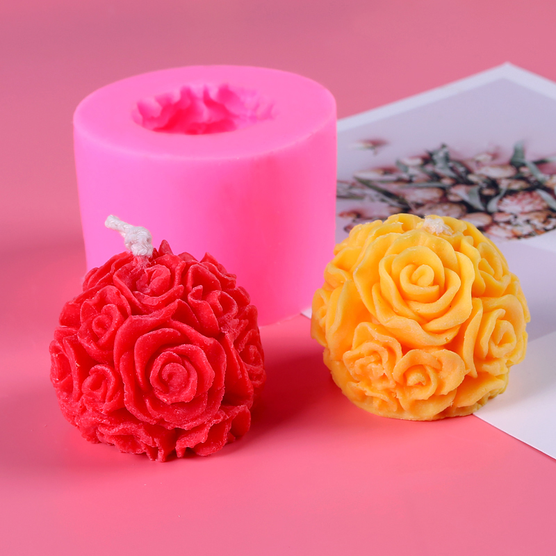 3D Rose Candle Molds Rose Flower Silicone Molds For Making DIY Homemade Beeswax Candles Bath Bomb Mini Soap Lotion Bar Wax Melts