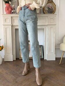 Image 5 - Jeans pour femmes, jeans Vintage, coupe asymétrique, droit à neuf points