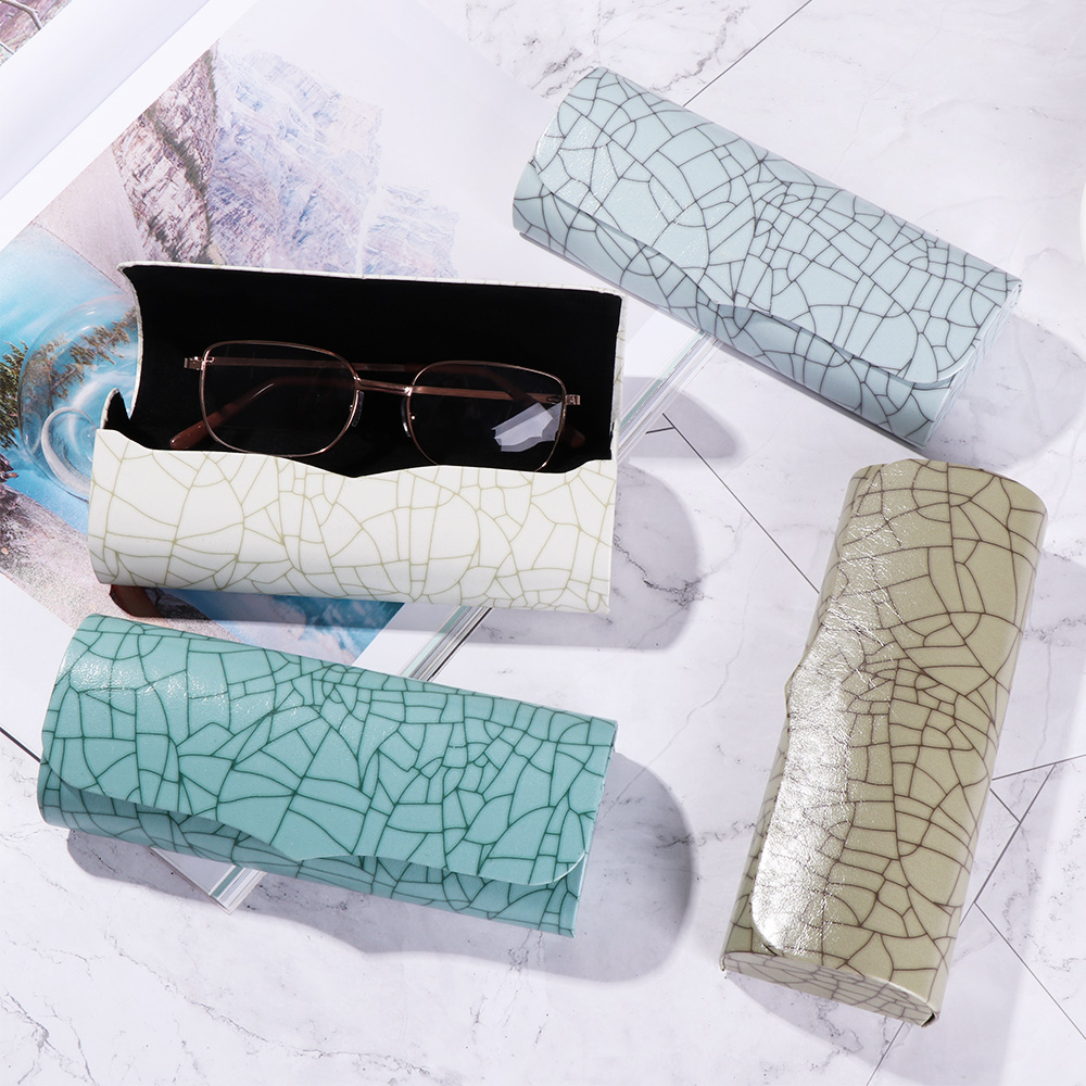 1Pcs PU Leather Reading Glasses Case Hard Cover Marble Pattern Waterproof Eyewear Cases Cover Strong Magnet Sunglasses Box Case