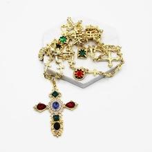 Baroque Gem Necklace Gold Cross Luxury Women Dainty Jewelry Diamond Chain Purple Rhinestone Pendant Turquoise Amethyst Necklace faux turquoise rhinestone heart sweater chain