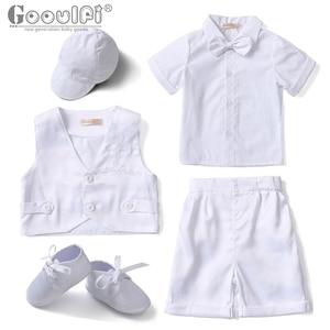 Gooulfi детская одежда для мальчиков, летняя одежда для новорожденных мальчиков, одежда для церкви, Крещение, формальные комплекты, белый костю...