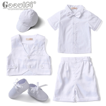 Gooulfi Baby Boy Summer Clothes Newborn Baby Boy Church Outfit Infants Baptism Formal Sets White Suit Baby Boy Clothing Summer