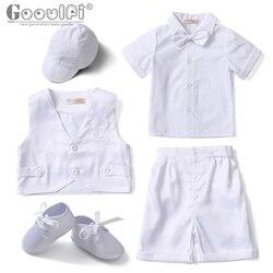 Gooulfi bébé garçon vêtements d'été nouveau-né bébé garçon église tenue nourrissons baptême ensembles formels costume blanc bébé garçon vêtements été