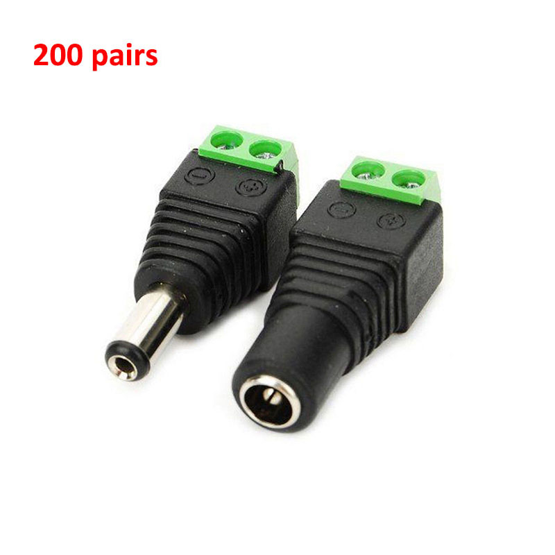 200 Pair DC Power Male And Female Jack Adapter Plug Free Welding DC Male Female Head For CCTV Camera DVR Free Shipping