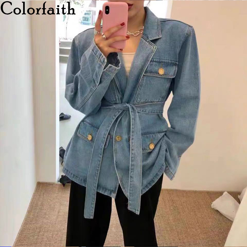 Colorfaith New 2020 Spring Autumn Women's Denim Jackets Casual Turn-down Collar Pockets Sashes Wild Streetwear Jeans Tops JK6965