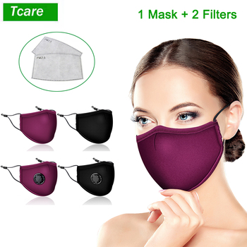 Tcare Reusable Cotton Black Mask Mouth Face Washable Mask Anti PM2.5 dust with 2pcs Activated Carbon Filter Fabric Face Mask