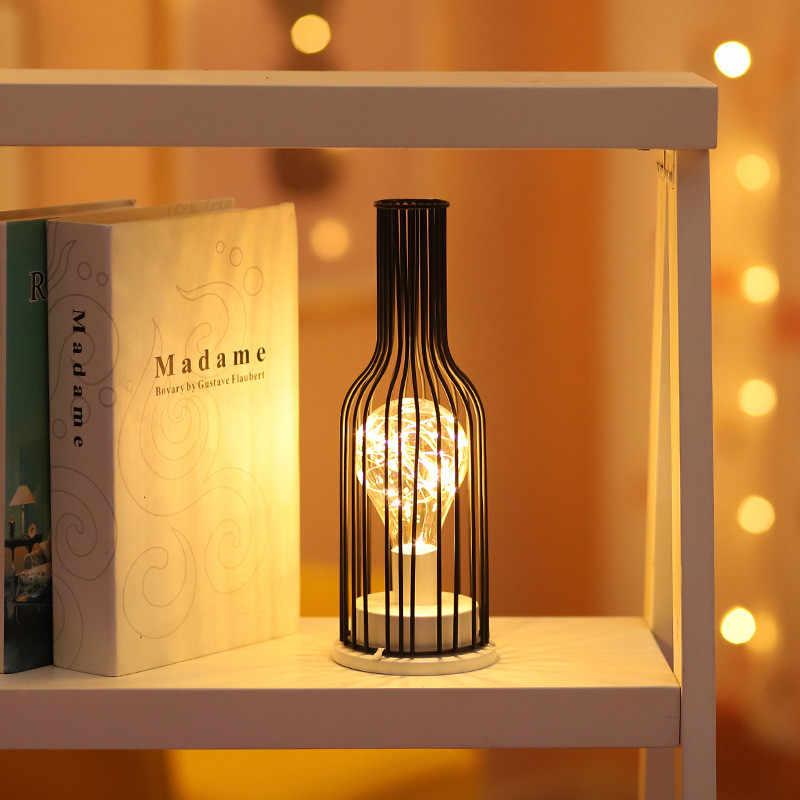 Hollow OUT ขวดไวน์รูปร่าง LED โคมไฟแก้วดื่มสำหรับ Cafe โรงแรมระเบียง