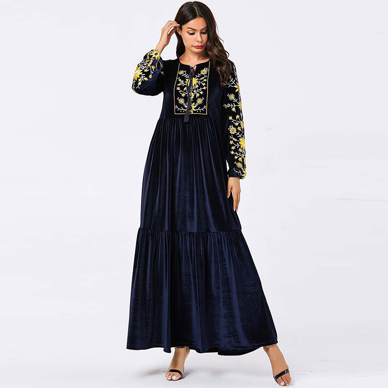 Europe And The United States Large Size Women's Robes Muslim Dubai Indonesian Embroidery Arab Dress Prayer Conservative Dress