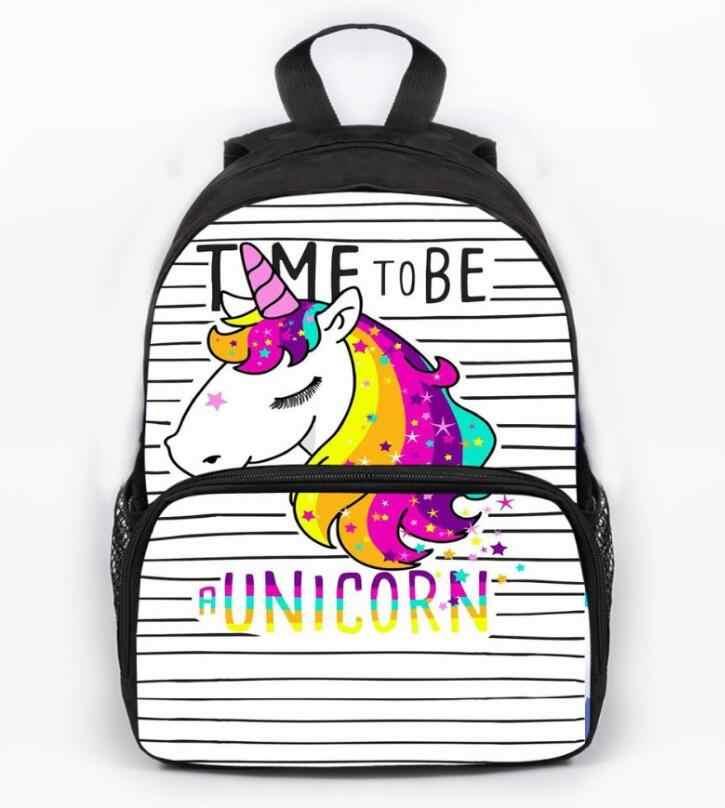 Bolsa Escolar para niños con estampado de unicornio bolsas de libros para niños para niñas