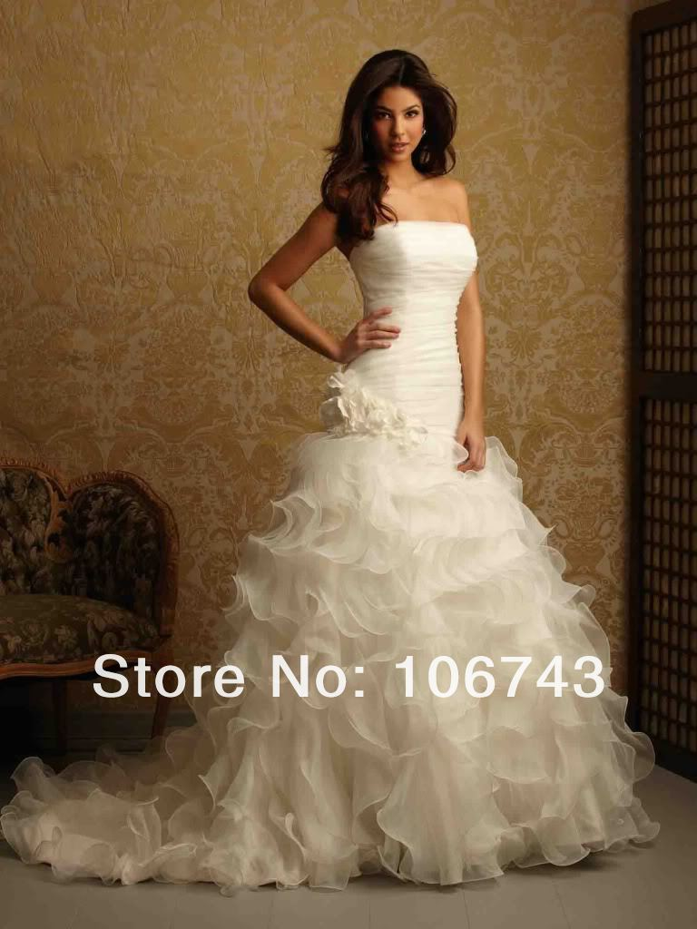 2018 Vestido De Noiva High Quality Sweet Princess Custom Ruffles Handmade Flowers For Bridal Gown Mother Of The Bride Dresses