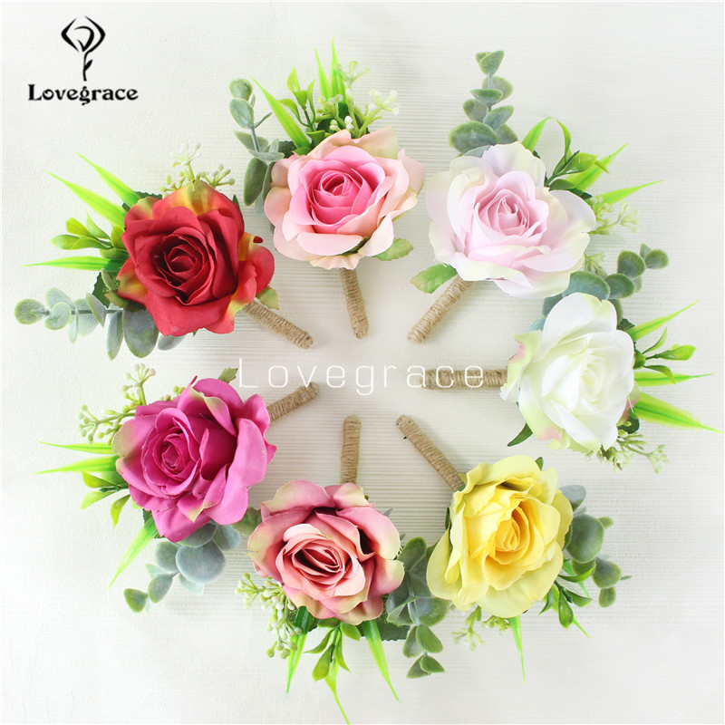 Lovegrace Men Boutonniere Wedding Bride Wrist Corsage Girl Bracelet Rose Flower Prom Party Groom Brooch Pins Decor Women Corsage