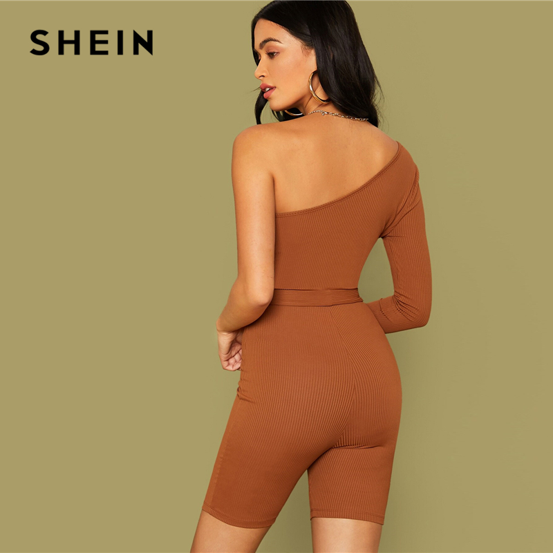 SHEIN Brown One Shoulder Rib-knit Belted Cycling Romper Women Playsuit Autumn Solid Mid Waist Skinny Party Sexy Playsuits 2