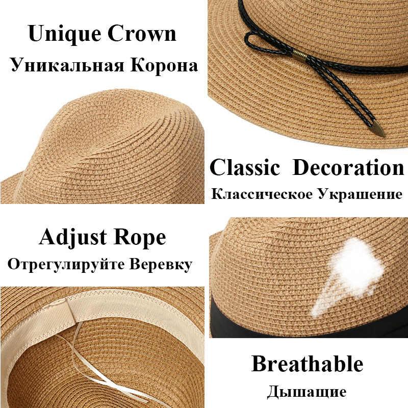 Sombrero de paja de verano para mujer, sombrero de playa de Panamá informal de moda de 2020, sombrero de Sol de cuerda ajustable transpirable, sombreros de sol para mujer