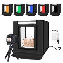 Puluz 40x40cm 30w led dobrável foto fotografia estúdio caixa cabine softbox lightbox luz tenda 6 backdrops fotografia cor eua