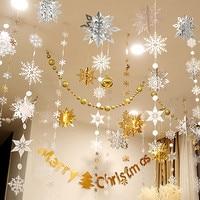 Artículos de fiesta de la línea Frozen 3D Artificial copos de nieve de papel guirnaldas adornos de Navidad decoraciones de invierno para el hogar nieve falsa