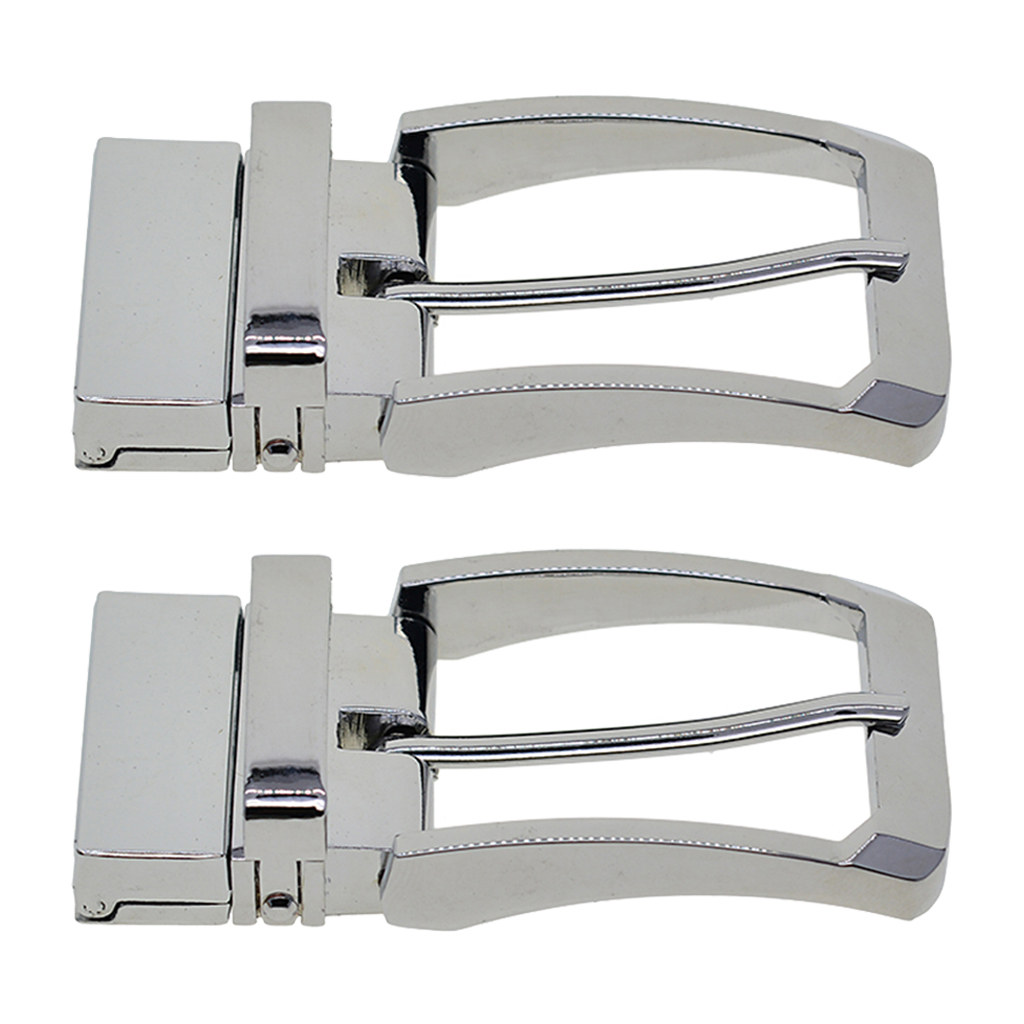 2pcs Man Silver Color Belt Buck Reversible Belt Buckle Replacement Rectangular Pin Buckle Waistband Accessory