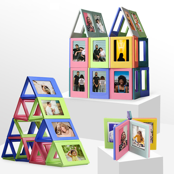 50 pcs/lot DIY Magnetic Double Sided Photo frame Film Constructor Building Blocks Refrigerator stickers Toys for Kids Girl Gift