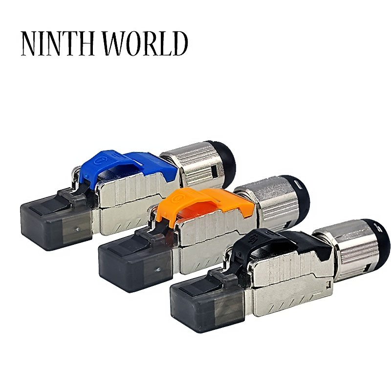 Cat 6A Cat7 Cat 8 RJ45 Connectors Tool Free Easy Jack Shielding RJ45 Metal Die-Cast Field Termination Plug Cat 7 Cat 8 22-24AWG