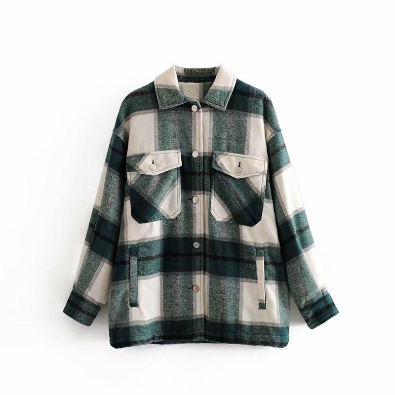 Vintage Stilvolle Frauen Plaid Taschen Taste tweed Bluse Herbst Mode Dick Shirts Tops Casual Blusas Mujer