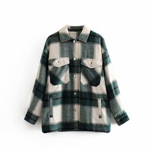 Vintage Stylish Women Plaid Pockets Button tweed Blouse Autumn Fashion Thick Shi