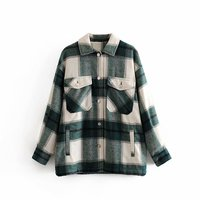 Vintage Stylish Women Plaid Pockets Button tweed Blouse Autumn Fashion Thick Shirts Tops Casual Blusas Mujer