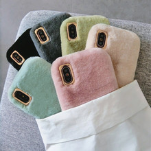Winter Warm Leuke Konijnenbont Pluche Telefoon Case Voor iPhone 11 Pro XS Max X XR 6 S 6 S 7 8 Plus Furry Soft TPU Effen Kleur Back Cover