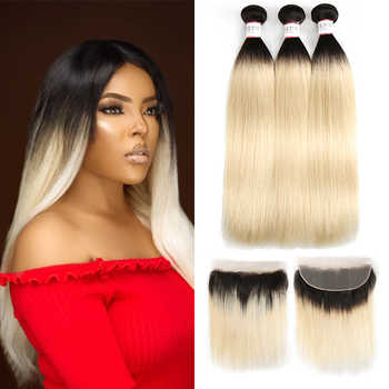 1B 613 Bundles With Frontal Euphoria Brazilian Straight Remy Human Hair 3 Bundles With Platinum Blonde Lace Frontal Closure 13x4 - DISCOUNT ITEM  47% OFF All Category
