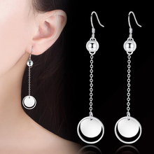 KOFSAC Simple Vintage 925 Sterling Silver Round Tassel Long Earrings Ear Line Women Fashion Jewelry Engagement Accessories Hot
