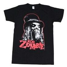 Rob Zombie Men T-Shirt Black with Red Logo Brand Printed 100% Cotton T Shirt Harajuku Funny Rick Tee Shirts