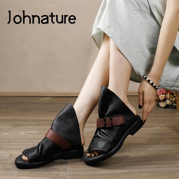 Johnature Women Slippers 2020 New Spring Summer Flat With Slides Buckle Outside Genuine Leather Concise Leisure Women Shoes
