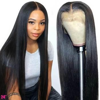 4x4 5x5 парик на шнурке, прозрачный парик на фронтальном шнурке, 13х6, прямые человеческие волосы на фронте, парики 150%, Remy, бразильские волосы, пар...
